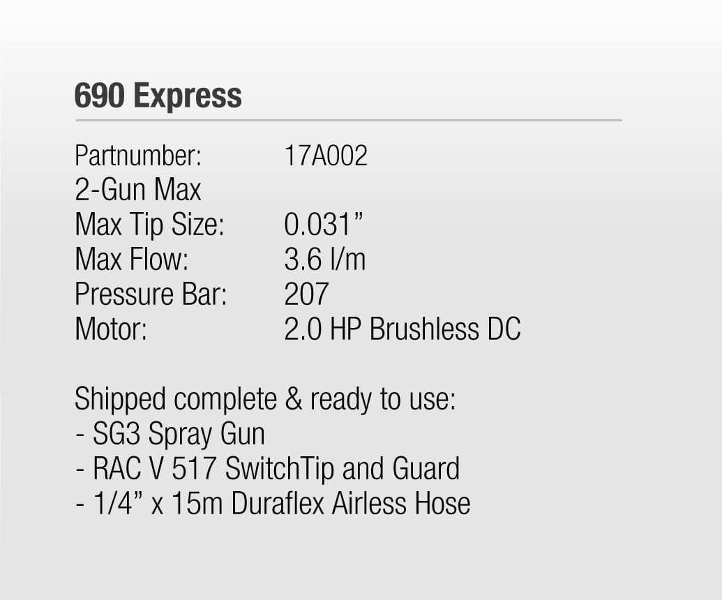 690 Express Electric Airless Spray System Technical Specifications