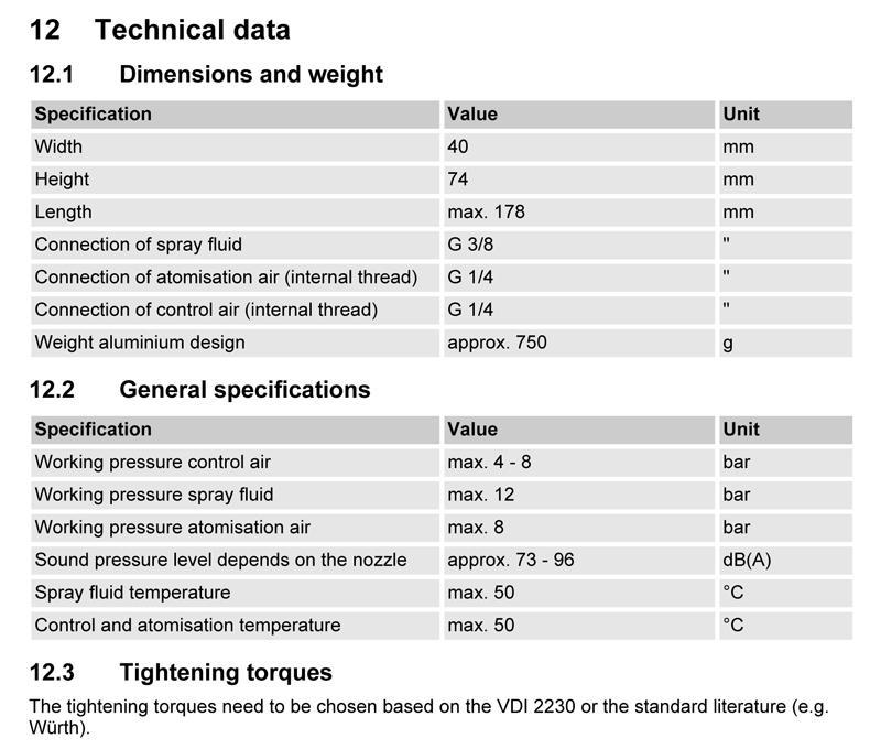 Krautzberger A10 Technical Specifications